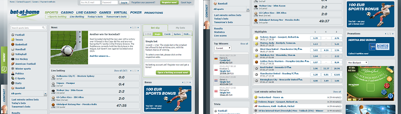 Bet at home Sports SCREENSHOT